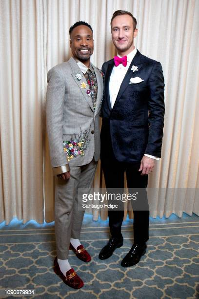 Billy Porter and Adam PorterSmith prepare for the 2019 Golden Globe Awards at Waldorf Astoria Beverly Hills on January 06 2019 in Beverly Hills...