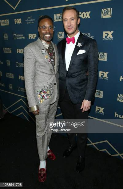 Billy Porter and Adam Smith attend the FOX FX And Hulu 2019 Golden Globe Awards After Party at The Beverly Hilton Hotel on January 6 2019 in Beverly...