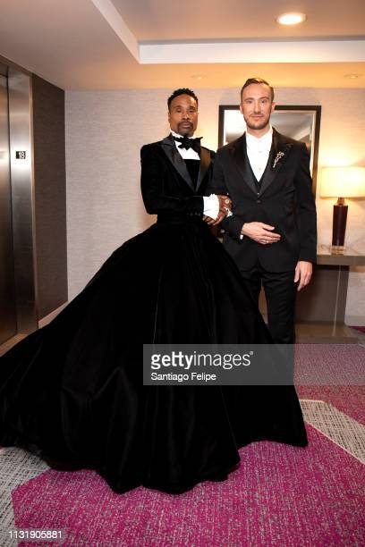 Billy Porter and Adam Smith prepare for the 91st Academy Awards at Lowes Hollywood Hotel on February 24 2019 in Hollywood California