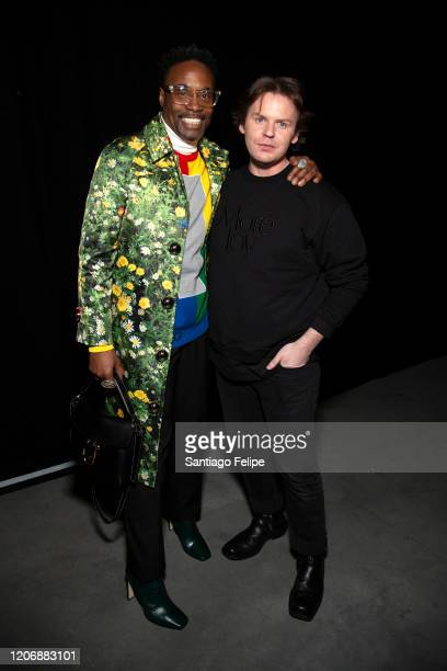 Billy Porter and Christopher Kane backstage after the show during London Fashion Week February 2020 on February 17, 2020 in London, England.