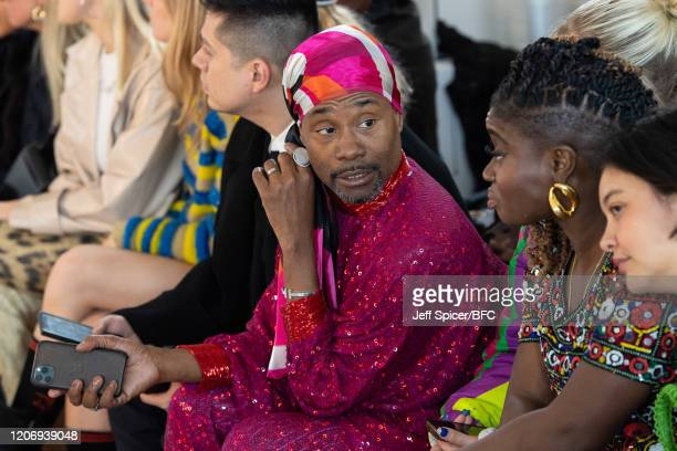 Billy Porter and Clara Amfo attend the Ashish show during London Fashion Week February 2020 on February 17 2020 in London England