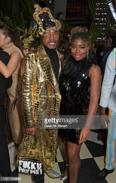 Billy Porter and Clara Amfo attend the Universal Music BRIT Awards afterparty 2020 hosted by Soho House PATRON at The Ned on February 18 2020 in...