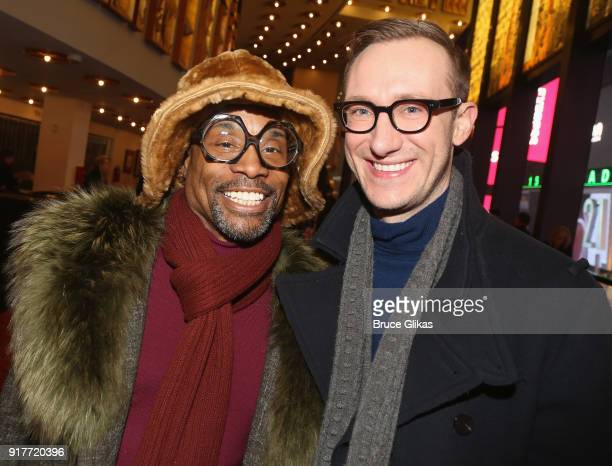 Billy Porter and husband Adam PorterSmith pose at the 'Thoroughly Modern Millie' 15th Anniversary Reunion Concert at The Minskoff Theater on February...