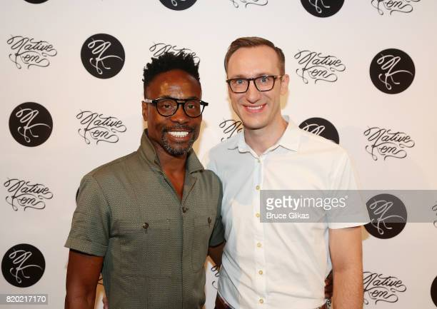 Billy Porter and husband/CoOwner of Native Ken Eyewear Adam Porter Smith pose at the Native Ken Eyewear NYC Launch Party at Native Ken on July 20...