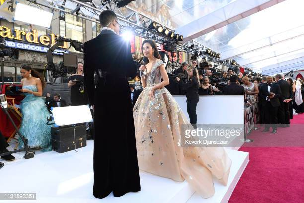 Billy Porter and Michelle Yeoh attend the 91st Annual Academy Awards at Hollywood and Highland on February 24 2019 in Hollywood California