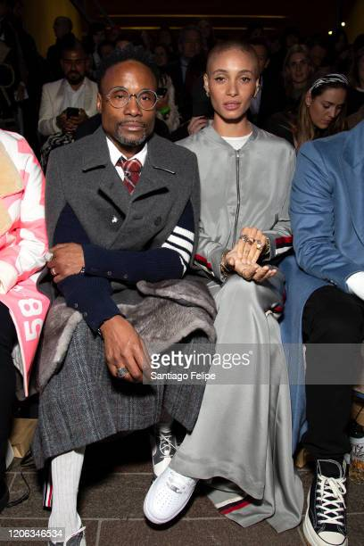 Billy Porter and model Adwoa Aboah sit front row at 'Central Saint Martins' during London Fashion Week February 2020 on February 14, 2020 in London,...
