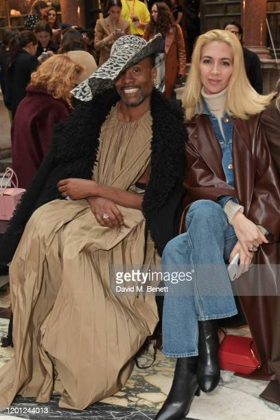 Billy Porter and Sabine Getty attend the Roksanda show during London Fashion Week February 2020 at The British Foreign and Commonwealth Office on...