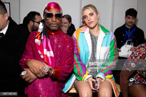 Billy Porter and Tigerlily Taylor sit front during 'Ashish' fashion show during London Fashion Week February 2020 on February 17 2020 in London...