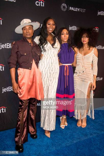 Billy Porter Dominique Jackson MJ Rodriguez and Indya Moore arrive for Paley Center for Media's 2019 PaleyFest LA panel and screening of 'Pose' on...