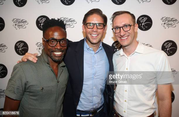 Billy Porter Frank DiLella and Adam Porter Smith pose at the Native Ken Eyewear NYC Launch Party at Native Ken on July 20 2017 in New York City