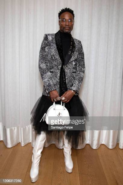 Billy Porter gets ready to attend 'Matty Bovan' fashion show duringduring London Fashion Week February 2020 on February 14, 2020 in London, England.