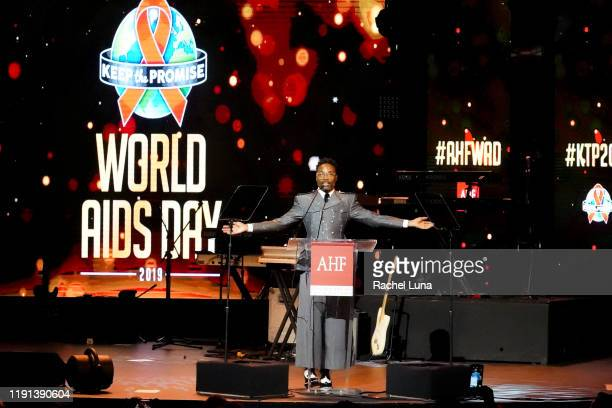 Billy Porter hosts Keep the Promise 2019 World AIDS Day Concert In Los Angeles at The Wilshire Ebell Theatre on December 01 2019 in Los Angeles...