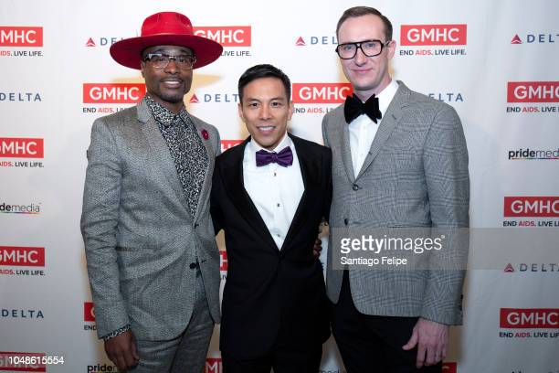 Billy Porter Kelsey Louie and Adam Smith attend the 2018 Gay Men's Health Crisis Annual Gala at The Plaza Hotel on October 9 2018 in New York City