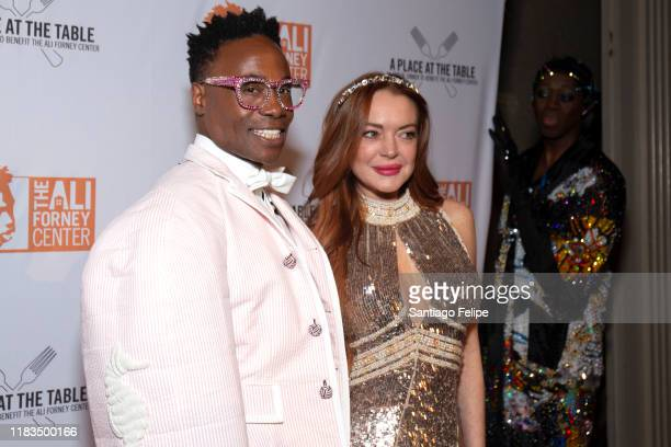 Billy Porter Lindsay Lohan and J Alexander attend the 2019 Ali Forney Center Gala at Cipriani Wall Street on October 25 2019 in New York City