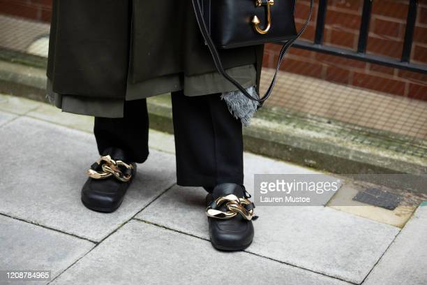Billy Porter outfit details outside JW Anderson during London Fashion Week February 2020 on February 17 2020 in London England