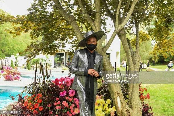 Billy Porter poses in the front row during the Christian Siriano Collection 37 2020 Fashion Show on September 17 2020 in Westport Connecticut