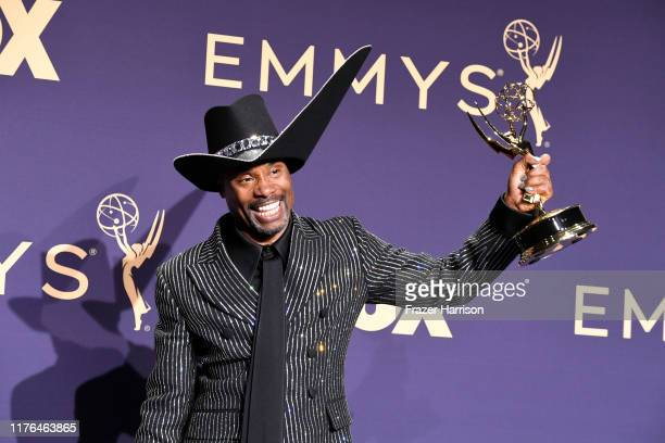 Billy Porter poses with award for Outstanding Lead Actor in a Drama Series in the press room during the 71st Emmy Awards at Microsoft Theater on...