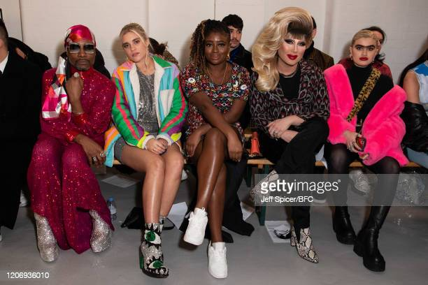 Billy Porter Tiger Lilly Taylor Clara Amfo Jodie Harsh and Sophia Hadjipanteli attend the Ashish show during London Fashion Week February 2020 on...