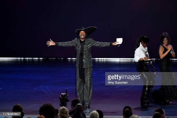 "Billy Porter wins the Outstanding Lead Actor, Drama award for ""Pose"" from Kerry Washington onstage during the 71st Emmy Awards at Microsoft Theater..."
