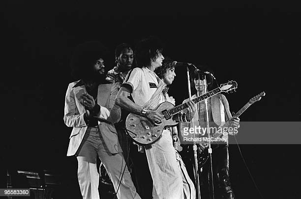 Billy Preston unknown musician Ronnie Wood Mick Jagger and Keith Richards perform live at The Winterland Ballroom in 1974 in San Francisco California