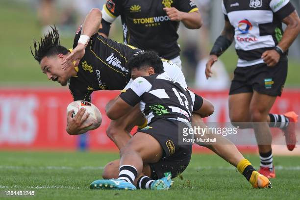 Billy Proctor of Wellington is tackled during the round 9 Mitre 10 Cup match between Hawkes Bay and Wellington at McLean Park on November 08, 2020 in...