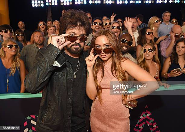 Billy Ray Cyrus and Brandi Glenn Cyrus attend the 2016 CMT Music awards at the Bridgestone Arena on June 8 2016 in Nashville Tennessee