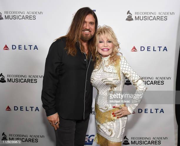 Billy Ray Cyrus and Dolly Parton attend MusiCares Person of the Year honoring Dolly Parton at Los Angeles Convention Center on February 8 2019 in Los...