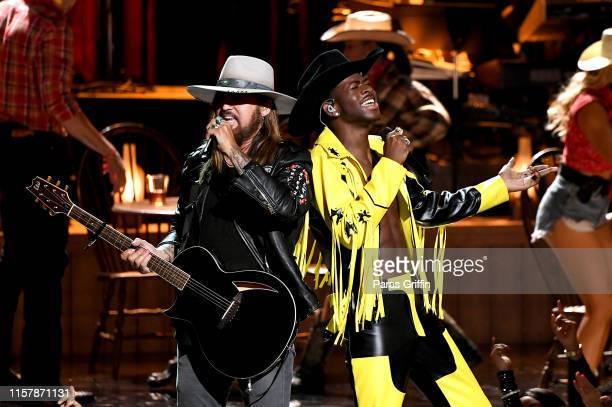 Billy Ray Cyrus and Lil Nas X perform onstage at the 2019 BET Awards at Microsoft Theater on June 23 2019 in Los Angeles California