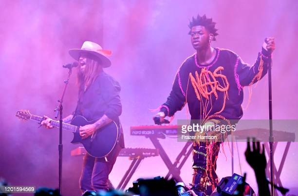 Billy Ray Cyrus and Lil Nas X perform onstage during Spotify Hosts Best New Artist Party at The Lot Studios on January 23 2020 in Los Angeles...