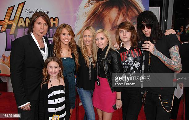 """Billy Ray Cyrus and Miley Cyrus arrives at the Los Angeles premiere of """"Hannah Montana The Movie"""" at the El Capitan Theatre on April 2, 2009 in..."""