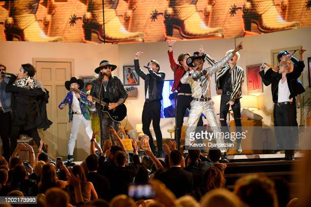 Billy Ray Cyrus BTS and Lil Nas X perform onstage during the 62nd Annual GRAMMY Awards at Staples Center on January 26 2020 in Los Angeles California