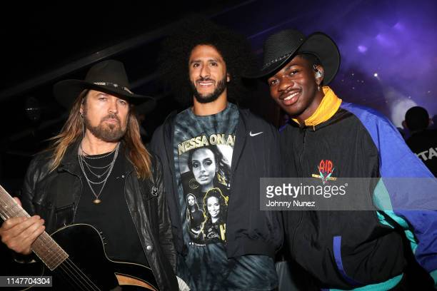Billy Ray Cyrus Colin Kaepernick and Lil Nas X backstage at Summer Jam 2019 at MetLife Stadium on June 2 2019 in East Rutherford New Jersey