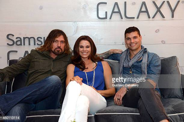 Billy Ray Cyrus Jennifer Taylor and Joel Smallbone at the Samsung Galaxy Artist Lounge at the 2014 CMA Music Festival on June 5 2014 in Nashville...