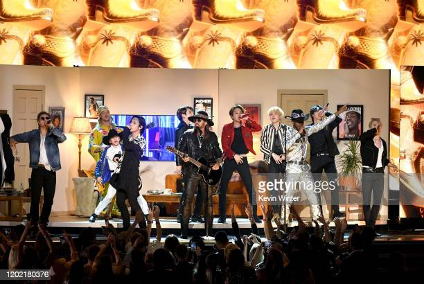 Billy Ray Cyrus Lil Nas X and BTS perform onstage during the 62nd Annual GRAMMY Awards at STAPLES Center on January 26 2020 in Los Angeles California