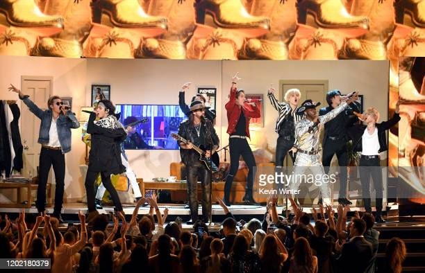 Billy Ray Cyrus, Lil Nas X, and BTS perform onstage during the 62nd Annual GRAMMY Awards at STAPLES Center on January 26, 2020 in Los Angeles,...