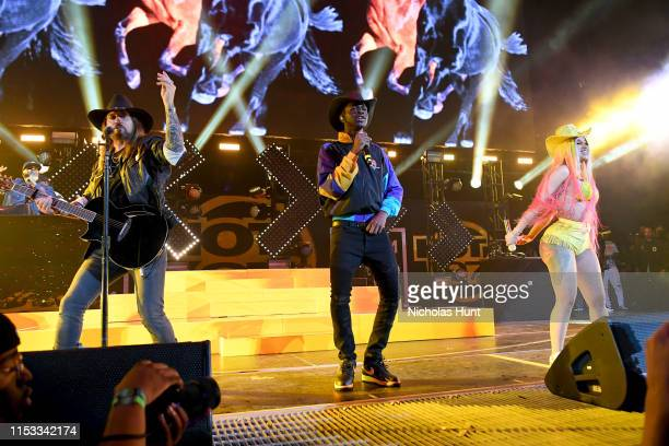 Billy Ray Cyrus Lil Nas X and Cardi B perform during Summer Jam 2019 at MetLife Stadium on June 02 2019 in East Rutherford New Jersey