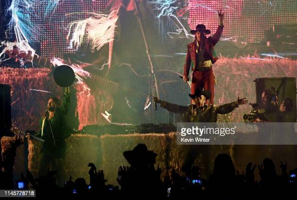 Billy Ray Cyrus Lil Nas X and Diplo perform onstage during the 2019 Stagecoach Festival at Empire Polo Field on April 28 2019 in Indio California