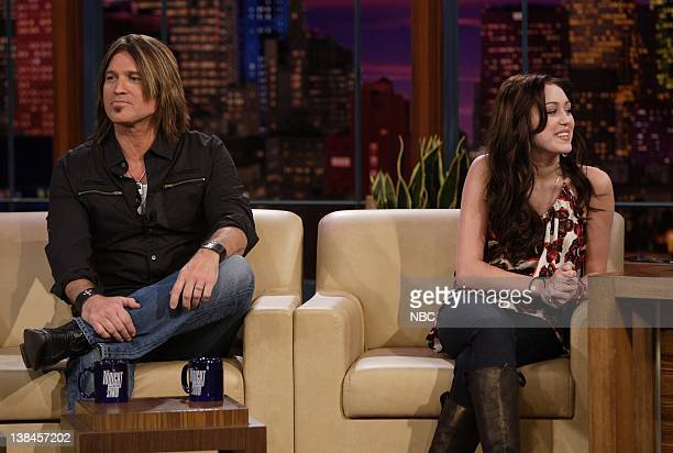 Billy Ray Cyrus, Miley Cyrus --Air Date 2/27/08 -- Episode 3507 -- Pictured: Singer Billy Ray Cyrus and daughter singer/actress Miley Cyrus during an...
