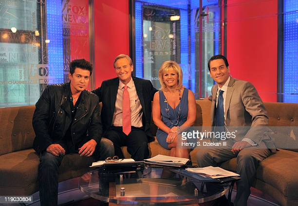 Billy Ray Cyrus Steve Doocy Gretchen Carlson and Clayton Morris tape an episode of 'FOX Friends' at FOX Studios on July 14 2011 in New York City