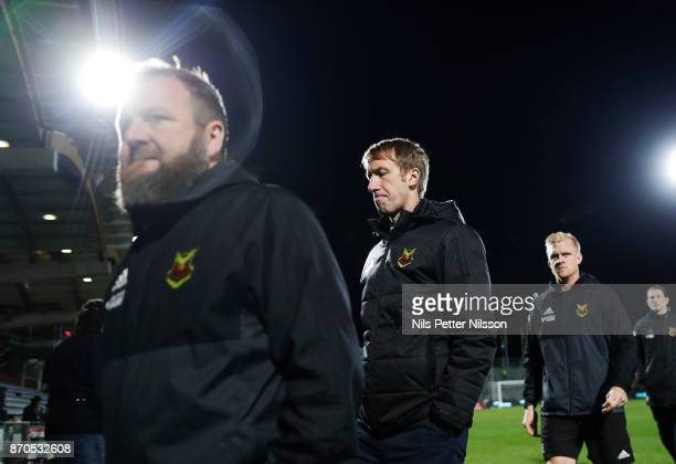 Billy Reid assistant coach of Ostersunds FK and Graham Potter head coach of Ostersunds FK walks off the pitch after the Allsvenskan match between...
