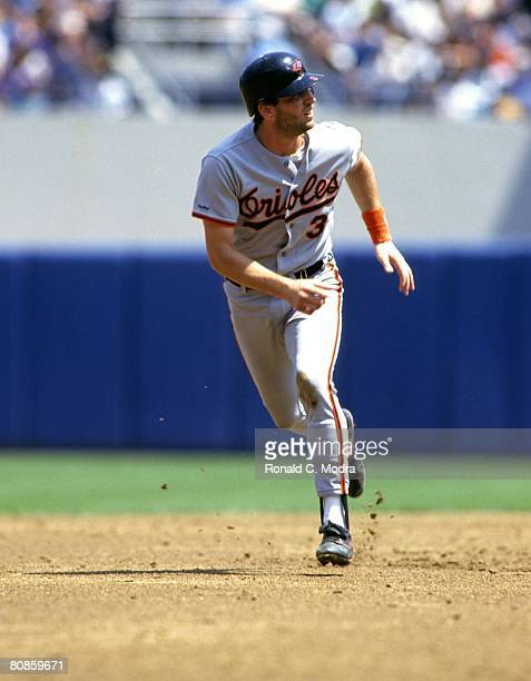 Billy Ripen of the Baltimore orioles leads off second base against the New York Yankees during a MLB game on July 6 1991 in the Bronx New York