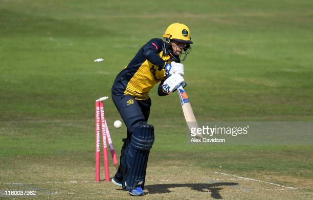 Billy Root of Glamorgan is bowled during a T20 Friendly match between Glamorgan and Netherlands at Sophia Gardens on July 04, 2019 in Cardiff, Wales.