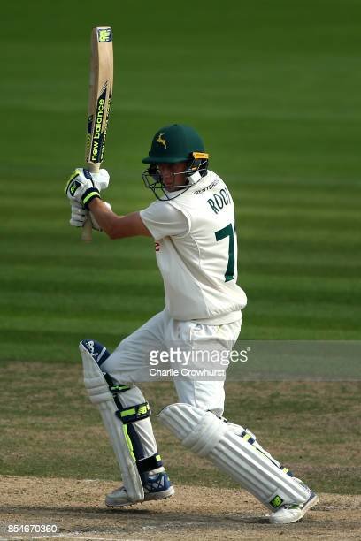 Billy Root of Nottinghamshire hits out during day three of the Specsavers County Championship Division Two match between Sussex and Nottinghamshire...