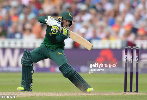 Billy Root of Nottinghamshire hits out during the Natwest T20 Blast semifinal match between Hampshire and Nottinghamshire at Edgbaston cricket ground...