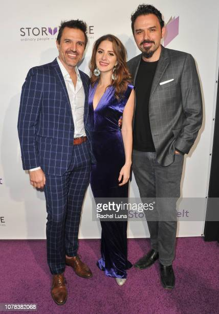 Billy Rovzar Ivana De Maria and Fernando Rovzar attend the launch of Egoless Social Sharing App StoryPlace at Monk Space on December 06 2018 in Los...