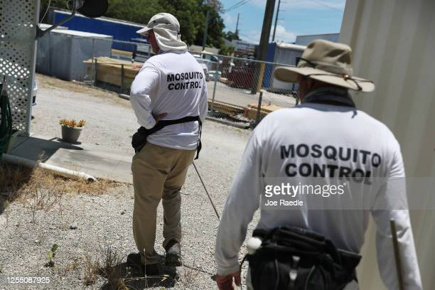 Billy Ryan and Meredith Kruse with the Florida Keys mosquito control department inspect a neighborhood for any mosquitos or areas where they can...