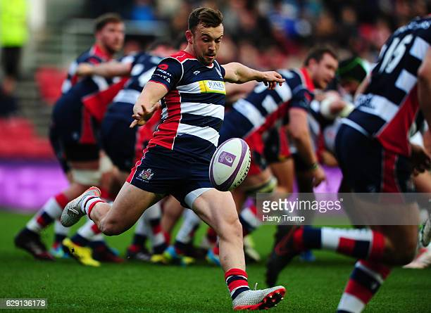 Billy Searle of Bristol Rugby clears the ball during the European Rugby Challenge Cup match between Bristol Rugby and Pau at Ashton Gate on December...