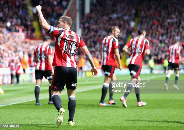 Billy Sharp Captain of Sheffield United celebrates scoring the second goal during the Sky Bet League One match between Sheffield United and...