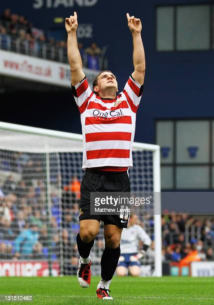 Billy Sharp of Doncaster celebrates his goal during the npower Championship match between Ipswich Town and Doncaster Rovers at Portman Road on...