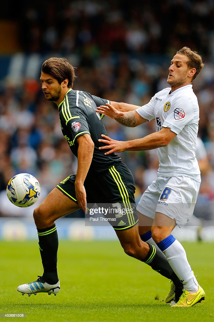 Billy Sharp (R) of Leeds in action with George Friend of Middlesbrough during the Sky Bet Championship match between Leeds United and Middlesbrough at Elland Road on August 16, 2014 in Leeds, England.